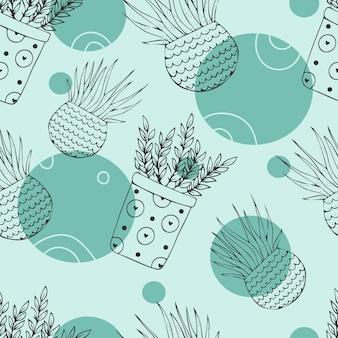 Beautiful seamless pattern with houseplants.