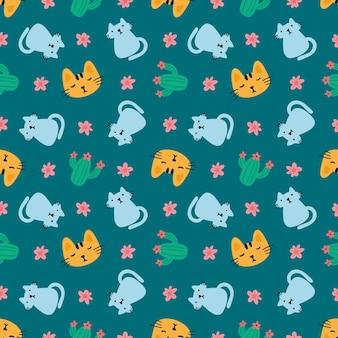아이콘과 디자인 요소가 있는 아름다운 매끄러운 패턴 귀여운 동물과 꽃