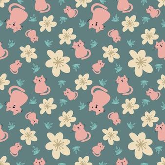 아이콘과 디자인 요소가 있는 아름다운 매끄러운 패턴 귀여운 동물 꽃과 잎