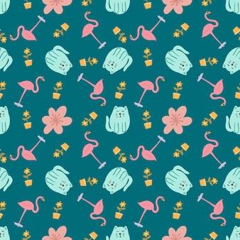 아이콘 및 디자인 요소 귀여운 동물과 함께 아름 다운 완벽 한 패턴