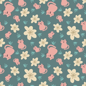 Beautiful seamless pattern with icons and design elements cute animals flowers and leaf