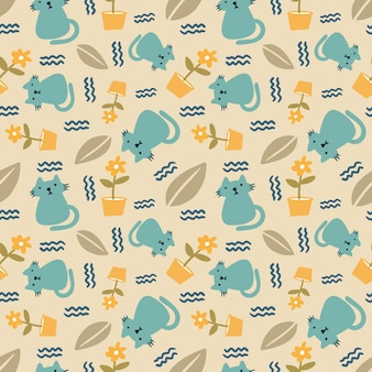 Beautiful seamless pattern with icons and design elements cute animals and leaf