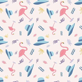 Beautiful seamless pattern with icons and design elements cute animals