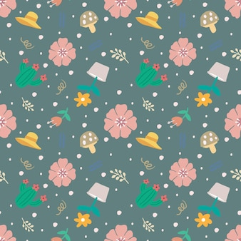 Beautiful seamless pattern with icons and design elements flowers and leaves