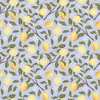 レモン、花、枝の美しいシームレスパターン。カラフルな手描きのベクトル図です。印刷、ファブリック、テキスタイル、壁紙のテクスチャ。