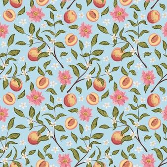 桃、花、枝の美しいシームレスパターン。カラフルな手描きのベクトル図です。印刷、ファブリック、テキスタイル、壁紙のテクスチャ。