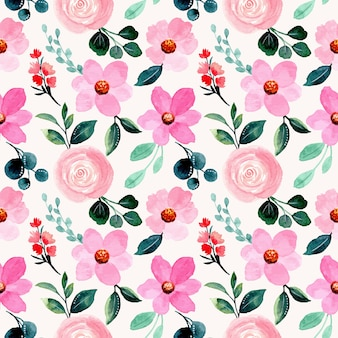 Beautiful seamless pattern with pink floral watercolor