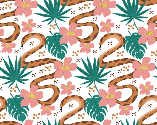 Beautiful seamless pattern with python and tropical leaves. flowers print with hand drawn exotic plants and snake. vector illustration.