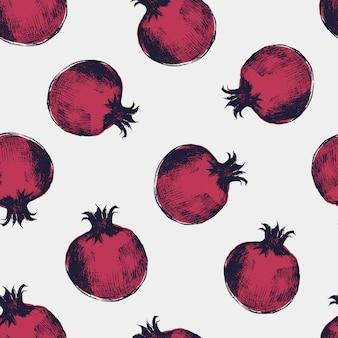 우아한 석류 스타일에서 그려진 붉은 석류 손으로 아름 다운 완벽 한 패턴입니다.