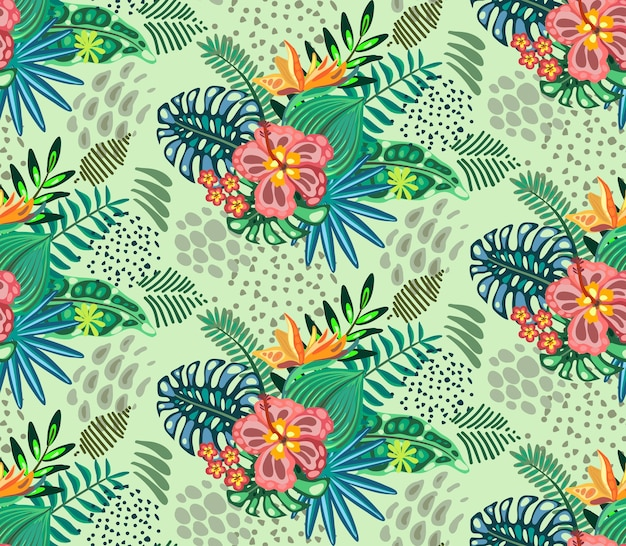 Красивые бесшовные модели с тропическими джунглями пальмовых листьев экзотических цветов
