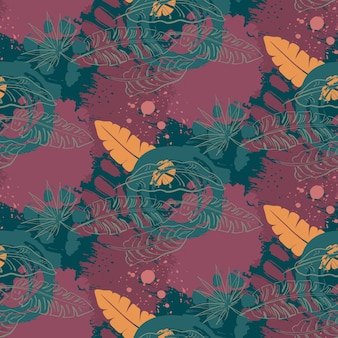 Beautiful seamless pattern with ropical jungle palm leaves