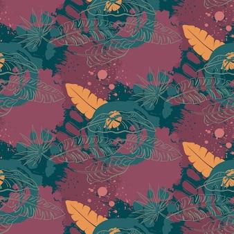 Ropicalジャングルヤシの葉と美しいシームレスパターン