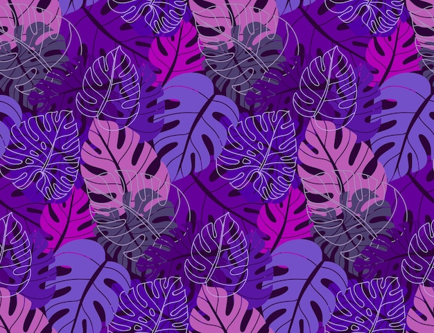 Beautiful seamless pattern with ropical jungle palm monstera leaves