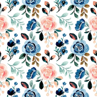 Beautiful seamless pattern with rose floral watercolor