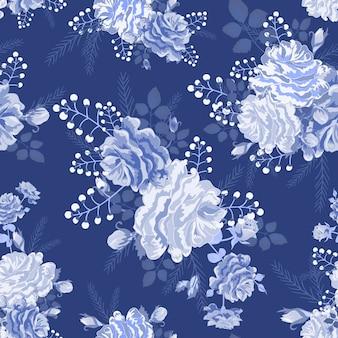 バラの美しいシームレスパターン
