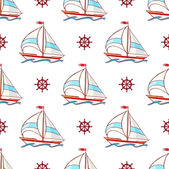 Beautiful seamless pattern with a sailboats and steering wheels a hand-drawn illustration