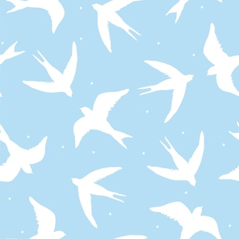 Beautiful seamless pattern with silhouette swallow birds