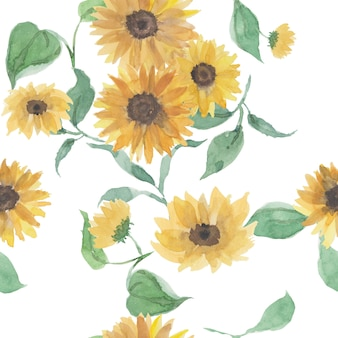 Beautiful seamless pattern with sunflowers and leaf on white.