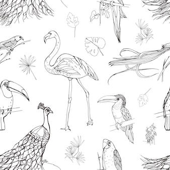 Beautiful seamless pattern with tropical birds and exotic leaves hand drawn with contour lines on white background. monochrome illustration for wallpaper, fabric print, wrapping paper.