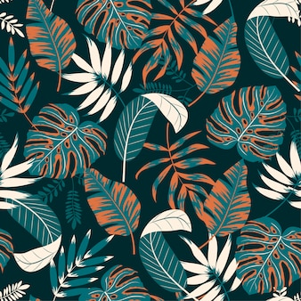 Beautiful seamless pattern with tropical plants and leaves