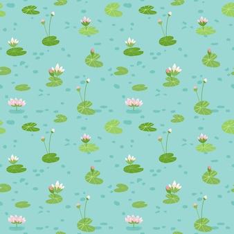 水のユリの美しいシームレスパターン、赤ちゃんの背景、テキスタイルプリント、カバー、壁紙、ポスターに使用します。ベクトルイラスト