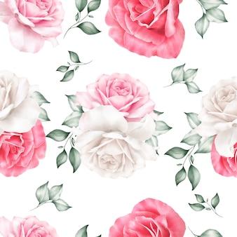 수채화 꽃과 잎과 아름 다운 완벽 한 패턴