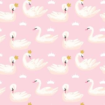 Красивый бесшовный образец с белыми лебедями и коронами, используйте для детского фона, текстильных принтов, обложек, обоев, плакатов. векторные иллюстрации