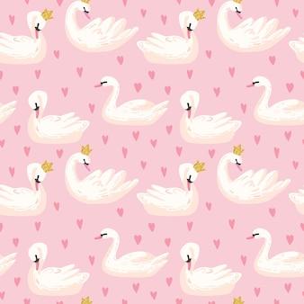 Красивый бесшовный образец с белыми лебедями и сердцами, используйте для детского фона, текстильных принтов, обложек, обоев, плакатов. векторные иллюстрации
