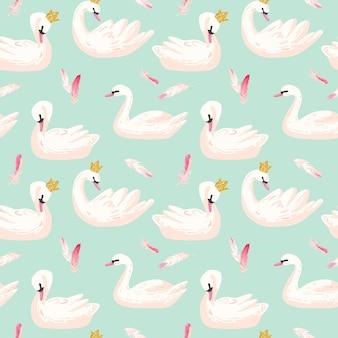 Красивый бесшовный образец с белыми лебедями и розовыми перьями, используйте для детского фона, текстильных принтов, обложек, обоев, плакатов. векторные иллюстрации