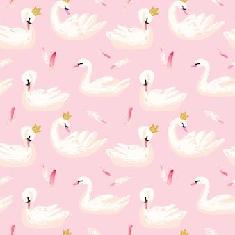 흰색 백조와 분홍색 깃털이 있는 아름다운 매끄러운 패턴은 아기 배경, 섬유 인쇄, 표지, 벽지, 포스터에 사용됩니다. 벡터 일러스트 레이 션 프리미엄 벡터