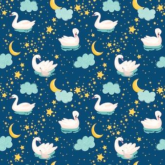 하얀 백조, 달, 별이 있는 아름다운 매끄러운 패턴은 아기 배경, 섬유 인쇄, 표지, 벽지, 포스터에 사용됩니다. 벡터 일러스트 레이 션
