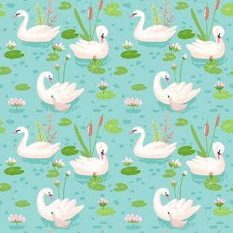 Красивый бесшовный образец с белыми лебедями, используйте для детского фона, текстильных принтов, обложек, обоев, плакатов. векторные иллюстрации