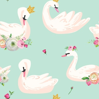 Beautiful seamless pattern with white swans with crowns and flowers, use for baby background, textile prints, covers, wallpaper, posters. vector illustration