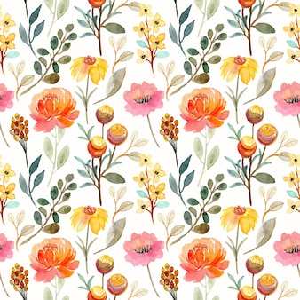 Beautiful seamless pattern with yellow floral watercolor