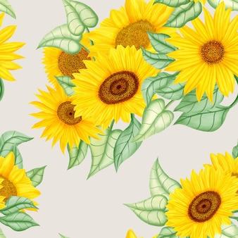 Красивый фон с желтым подсолнухом и листьями