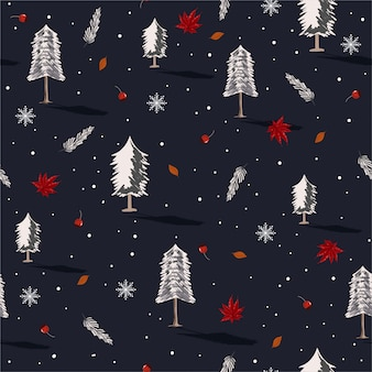 Beautiful seamless repeating pattern with christmas trees with snow flake