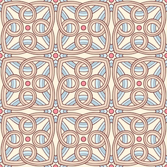 Beautiful seamless retro background with blue beige and brown abstract pattern and pink circles