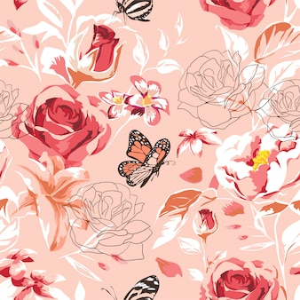 Beautiful seamless spring pattern with roses, peony, orchid and succulents