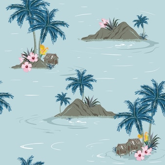 美しいシームレスな熱帯島のパターン
