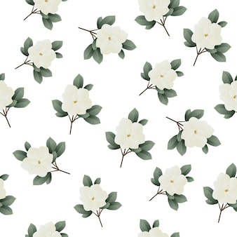 Beautiful seamless tropical pattern with magnolia flowers