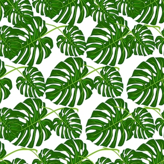 Beautiful seamless vector floral summer pattern with tropical palm leaves.