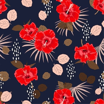 Beautiful seamless vector hibiscus exotic floral pattern,  summer background