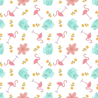 Beautiful seamless vector pattern with cute animals on the background