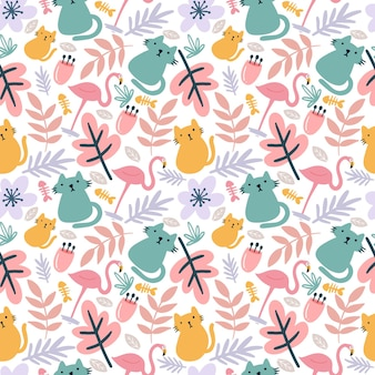 Beautiful seamless vector pattern with cute animals and leaf on the background