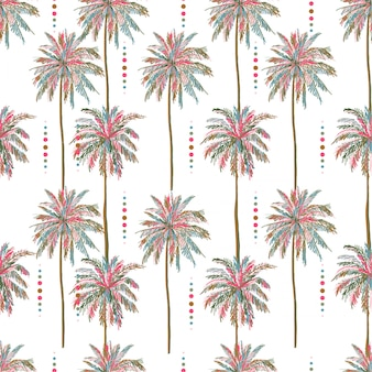 Beautiful seamless vector summer colorful palm tree pattern