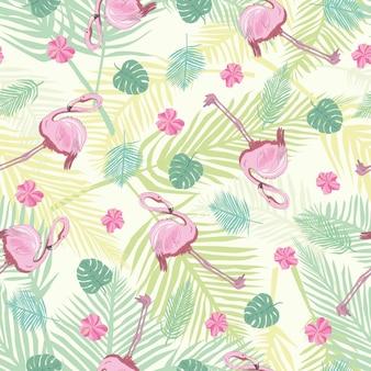 Красивые бесшовные векторные тропический узор фон с фламинго и гибискус