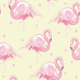 Beautiful seamless vector tropical pattern background with flamingo and hibiscus
