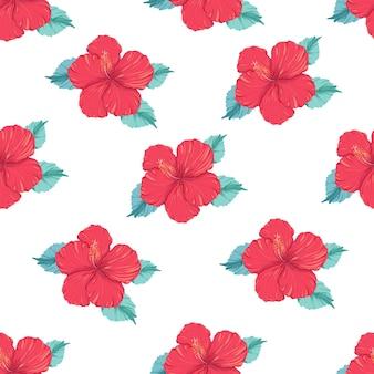 白い背景の上のハイビスカスの花と美しいシームレスなベクトル熱帯パターン