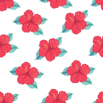 Beautiful seamless vector tropical pattern with hibiscus flower on white background