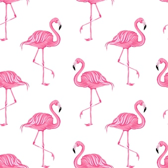 Beautiful seamless vector tropical pattern with pink flamingos abstract summer background